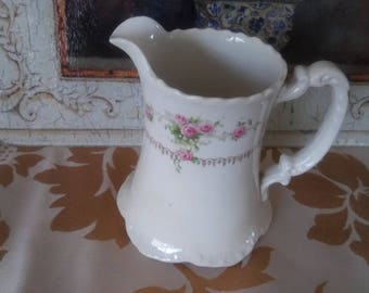 "Vintage Shabby Chic Homer Laughlin ""Hudson"" White China Pitcher with Pink Roses Greenery and Gold Trim"