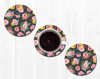 Coasters Hostess Gift Coaster New Home Gift Housewarming Gift Floral Coasters Home Decor Best Friend Gift Pink Coral Coasters for Drinks