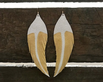 White leather feather earrings, Feather earrings, Feather leather earrings, statement earrings