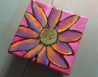 Funky Hippy Flower Art miniature art painting