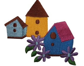 ID 7264 Multicolor Bird Houses Patch Village Flower Embroidered Iron On Applique