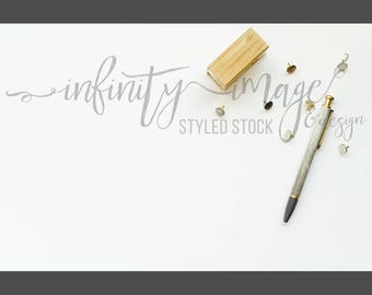 White Horizontal Styled Stock Product Photography Background w/Green & Brown Notebook, Journal, Pen, Stapler / High Res File #INF108SS