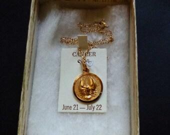 Jahrgang vergoldet Tierkreiszeichen Krebs Anhänger Halskette Verkauf