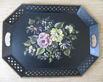 Vintage Nashco Floral Hand Painted Tray - Large Toleware Metal Tray - Cottage Chic - Pink Yellow Purple Flowers
