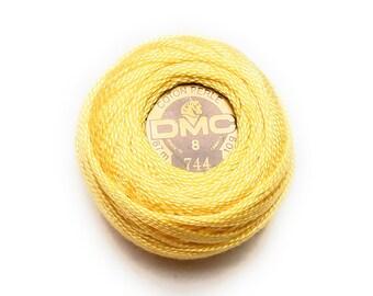 DMC 744 -  Pale Yellow -  Perle Cotton Thread Size 8
