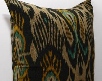 20x20, black, golden, green ikat pillow, ikat cushion, ikat pillow cover, golden pillow, golden ikat, black cuahon, black pillow