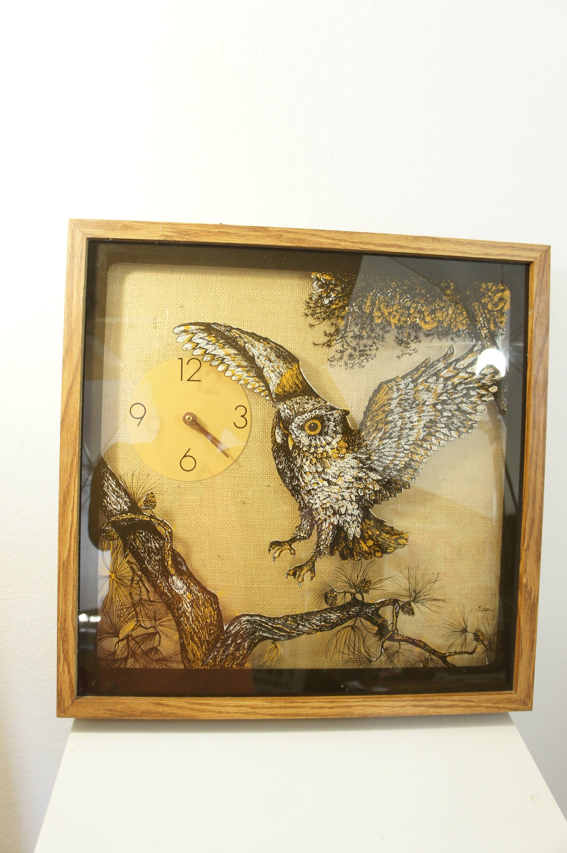 Vintage Reverse painted Owl shadowbox clock large square Elgin