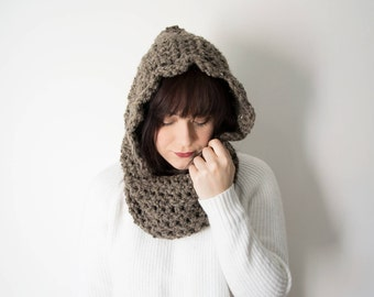 Knitted Hood Scarf - Crochet Chunky Infinity Cowl In Color *Hickory* - The Kirtland Knit Hooded Cowl