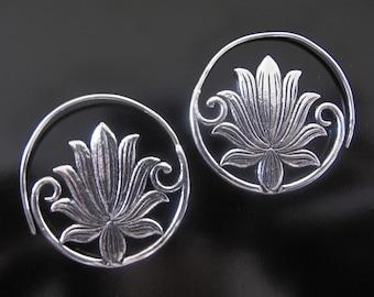 Lotus Earrings, Flower earrings, Silver plated Lotus Earrings, Tribal Earrings , Lotus Earrings