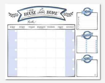 wall calendar printable : 16x20 DIGITAL FILE in *BLUE* color