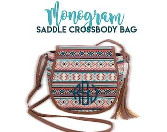 Monogram Boho Saddle Crossbody Bag, Boho Crossbody Purse, Personalized Saddle Purse, Monogrammed Boho Saddle Crossbody Purse