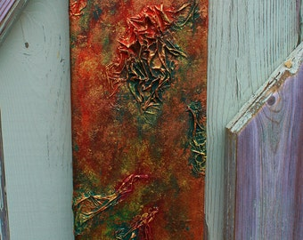 "Abstract textured art 16"" by 6"""