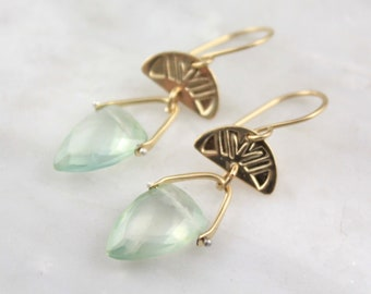 Stamped Gold and Pinned Prehnite Triangle Earrings