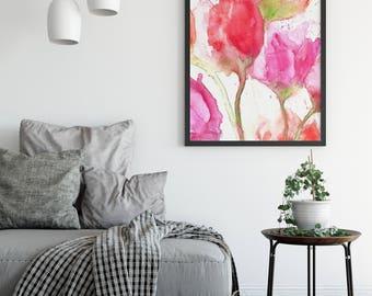 Flower Art Print - Watercolor Flower Print - Watercolour Flowers Giclee Print