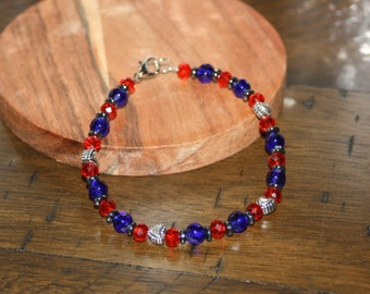 Sparkling Red and Blue heart Accented Bracelet