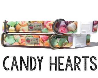 "Photorealistic Candy Conversation Hearts Love Girl Valentine Dog Collar - Organic Cotton - Antique Metal Hardware - ""Candy Hearts"""