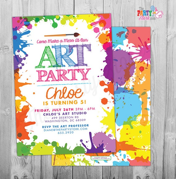 Art Paint Party Invitations Printable Birthday Invitation - Paint party invitation template free