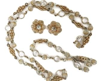 Signed Eisenberg Clear Crystal Necklace, Bracelet, Earrings Set, Vintage 1950s Grand Parure, Vintage Bridal Jewelry Set