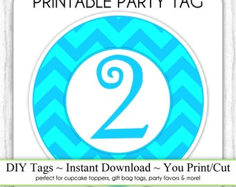 Instant Download - 2nd Birthday Printable Party Tag, Blue/Teal Birthday Party Tag, DIY Cupcake Topper, You Print, You Cut