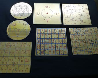 Set of 7 Enochian Ensigns of Creation - Engraved in Brass