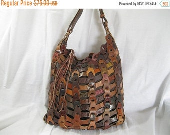 15% OFF SALE Large vintage leather woven patchwork slouchy shoulder bag hippie chic