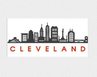 Cleveland- City Skyline - Ohio - Embroidery Design File - multiple formats - 2 sizes- instant download