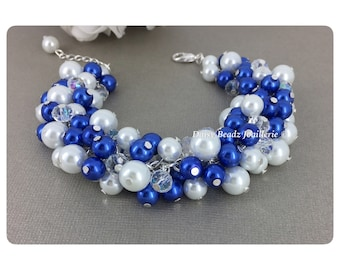 Royal Blue Bracelet Bridesmaid Jewelry Royal Blue and White Bracelet Cluster Bracelet Bridesmaid Gift for Her Maid of Honor Wedding Jewelry