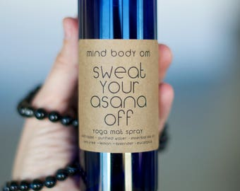 yoga mat spray mini - all natural organic cleaner - gym bag refresher, room spray, linen spray {sweat your asana off}