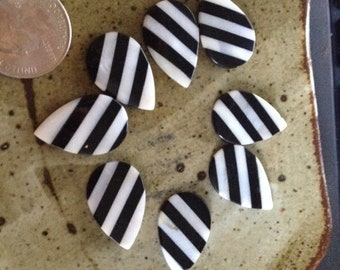 Zebra striped mother of pearl beads, teardrop shaped, supplies