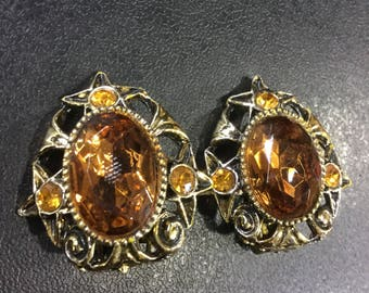 Clip on earrings ,gold plated orange stone