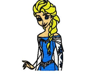 Frozen Elsa Embroidery Design, Instant Download, 3 Sizes, 4 Formats