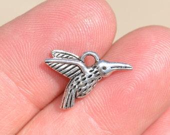 BULK 50  Silver Hummingbird Charms SC1421