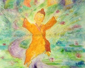 BUDDHA PAINTING. Buddha print. Calm art. Meditation wall art. Buddha art print.