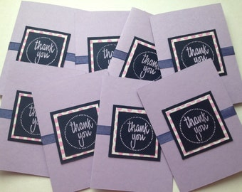 Pink and Purple Polka Dot Thank You Cards, Set of 4, FREE SHIPPING in USA