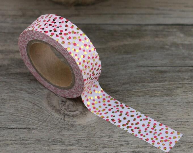 Pink and Gold Foil Polka Dot Washi Tape - Foil washi Tape -  Polka Dot Washi Tape - Paper Tape - Planner Washi Tape - Washi - Deco Tape