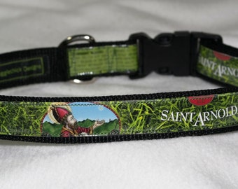Adjustable Dog Collar from Recycled Saint Arnold Fancy Lawnmower Beer Labels