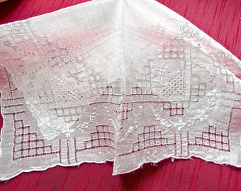 Antique Handkerchief - Madeira Embroidery - Woman's Hankie - White with Silver Embroidery - Wedding - Lacy Hankie - Linen - Intricate Lace