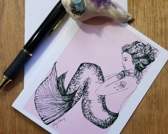 Pink Mermaid Folded Note Cards; Set of 5;  Fantasy; Stationary; Coastal Stationary