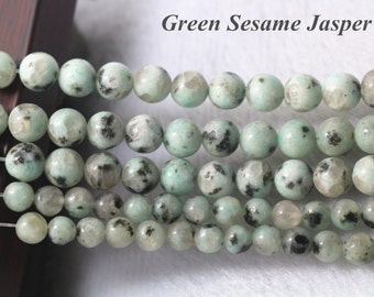 Green Sesame Jasper Beads, Natural and Smooth Round Beads,4mm 6mm 8 mm 10mm 12mm Green Sesame Jasper Beads,15 inches 1 strand