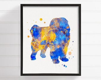Watercolor Chow Chow, Chow Chow Art Print, Chow Chow Painting, Chow Chow Poster, Dog Wall Art, Dog Lover Gift, Kids Room Decor, Blue Yellow