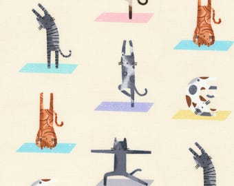 Fat Quarter Downward Cat Yoga Cats From Timeless Treasures, Cat Lady Cat Lover