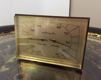 Vintage Airguide Desktop Temperature and Humidity Weather Gauge