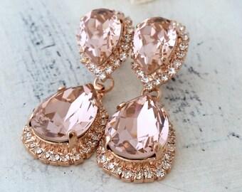 Rose gold Blush earrings,Blush bridal earrings,Morganite chandelier earrings,Swarovski earring,Blush Bridesmaids earring,Dangle earrings