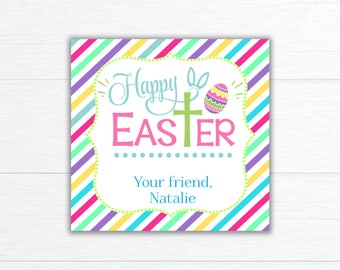 Religious gift tags etsy religious easter tag printable easter treat bag topper party favors cross easter tag negle Gallery