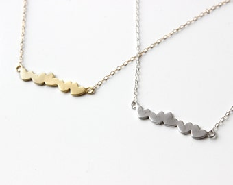 Personalized Necklace Five Hearts Necklace Hearts Row Necklace Personalized Hearts Necklace Family Initials Necklace Stuck Hearts Necklace