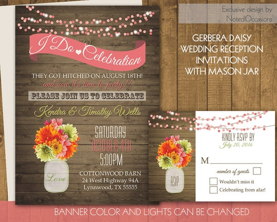 Rustic Wedding Reception Invitation Mason Jar Only Invites Printable I DO BBQ Gerbera Daisies Template