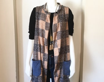Plaid Blazer Vest, Vests for Women, Quilted Fabric, Plaid Fabric, Spring Fashion, Long Vest, Long Cardigan, Cardigan Sweater, Cardigans