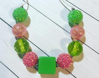 Lime Green and Pink Chunky Bubblegum Necklace