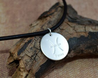 Leather Surfer Necklace With Ancient Zodiac Pisces Distresed Cord