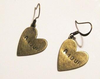 """Oxidized Bronze Heart """"Amour"""" Dangle Earrings"""